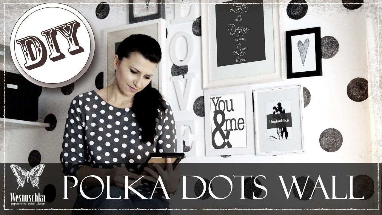 diy polka dots wand in vintage look ohne tapete black. Black Bedroom Furniture Sets. Home Design Ideas