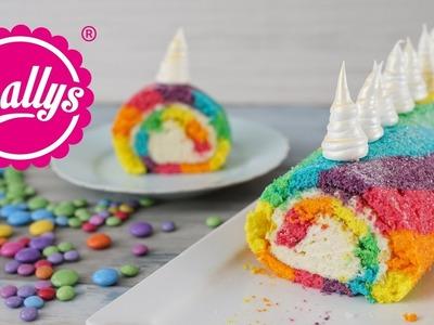 Einhorn Biskuitrolle. Regenbogenrolle. Rainbow Unicorn Swiss Roll