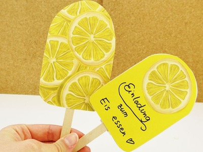 DIY EIS am Stiel selber machen | Einladung oder DEKO | Einfaches Eis aus buntem Papier basteln