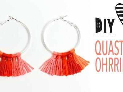 Quasten Ohrringe selber machen. Creolen mit Troddeln pimpen. DIY Tassel Hoop Earrings