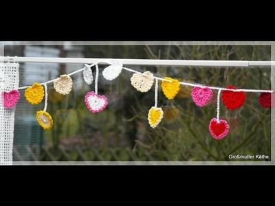 Valentinstag DIY Girlande mit Herzen häkeln - Happy Valentine`s day DIY crochet heart garland