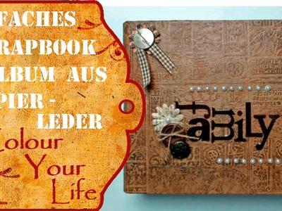 Scrapbook Album mit Papier-Leder Einband und Anfängergeeignet