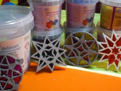 DIY - Beton giessen - bunte zarte Sterne aus Beton