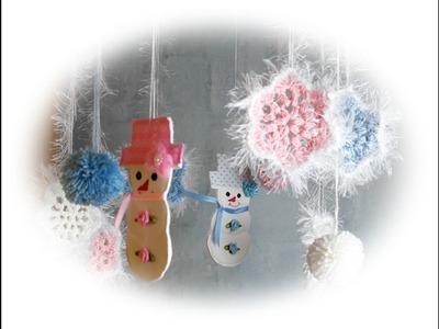 Käthes Nähstunde : Winter DIY Mobile mit Schneeflocken, Schneemännern und Bommeln