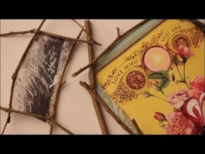DIY: Hübsche einzigartige Foto Bilderrahmen aus Ästen. Ast. Geschenk Valentinstag Muttertag