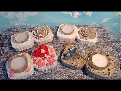 Beton DIY Tischdeko für den Valentinstag Teelichthalter