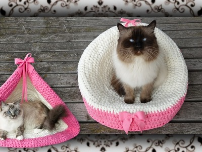 DIY ???? 2 in 1 Häkel Sessel & Zelt für Katzen | crochet chair & tent for cats