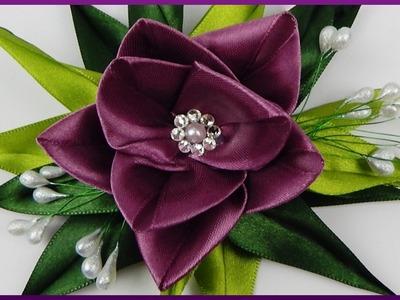 DIY Kanzashi | Haarblume aus Band basteln | Hair accessories | Ribbon flower