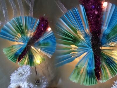 DIY: Modern art LED Schmetterling aus Butterbrotpapier, basteln-SELBER MACHEN; DIY kekaplauderei