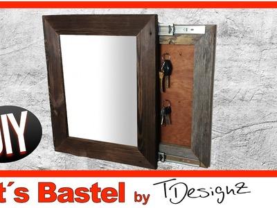 Spiegel mit geheimen Schlüsselbrett |Holz flammen | Rahmen aus Holz bauen | Anleitung DIY #1