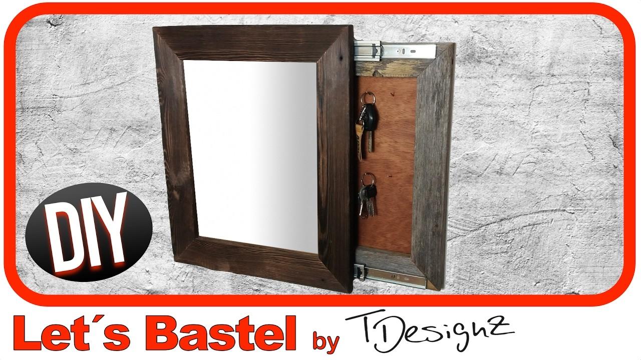 spiegel mit geheimen schl sselbrett holz flammen rahmen aus holz bauen anleitung diy 1. Black Bedroom Furniture Sets. Home Design Ideas