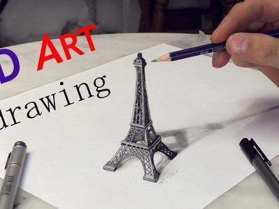 Paris Eiffel Tower 3D Drawing. Solidarité