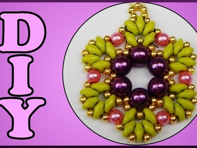 DIY | Blumen Perlen Anhänger fädeln | Beaded flower pendant with twin beads and pearls