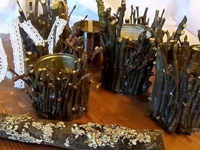 DIY: HOLZ-DEKO Gefäß, Kerzenständer aus Ästen SELBER machen für viele DEKO-Ideen UPSYCLING