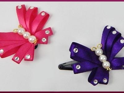 DIY Kanzashi | Haarspange mit Schmetterling basteln | Ribbon butterfly barrette | hair accessories
