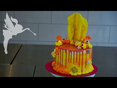 Bunte Driptorte mit Schokoladentopper - Drip Cake mit Schokolade - DIY - Kuchenfee