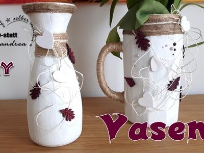 DIY Deko Basteln - Vasen im Kreide-Look aus Kerzenwachs und Acrylfarbe [How To]