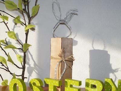 Osterhase, Hase mit Möhre aus Kaminholz. Brennholz und Gartendraht, Ostern DIY - Das Originalvideo