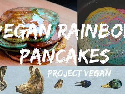 Vegan Rainbow Pancakes | easy, vegan, delicious