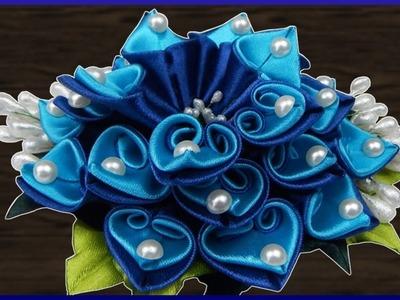 DIY Kanzashi   Haarblume aus Stoff basteln   Ribbon flower hair barrette   accessory