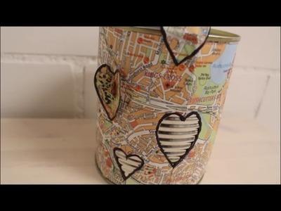 DIY: Kleines Last Minute Geschenk Upcycling Stiftehalter aus Stadtplänen selber machen