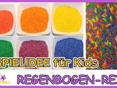 DIY REGENBOGEN-REIS - eine tolle Spielidee für Regentage. Täglich Mama
