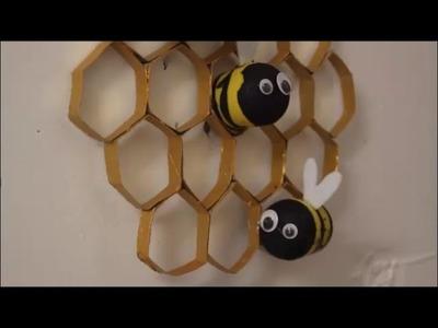 DIY: Bienenwaben mit Bienen. basteln mit Kindern. Deko Dekoration selber machen