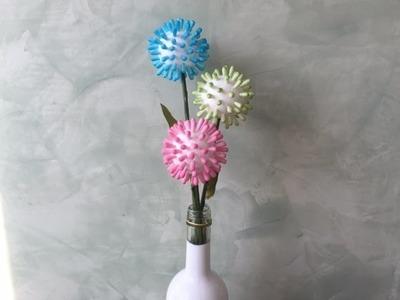 DIY Blume aus Wattestäbchen basteln, Pusteblume, basteln mit Kindern, schnell und einfach