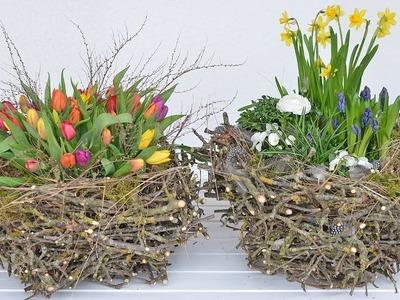 DIY - Frühlingsdeko. Osterdeko selber machen I XXL-Nest aus Zweigen I Deko mit Frühlingsblumen