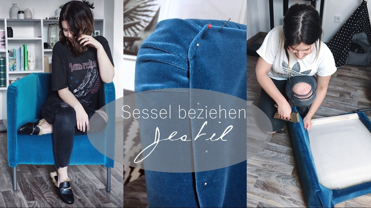 sessel neu beziehen diy velvet samt trend jestil. Black Bedroom Furniture Sets. Home Design Ideas