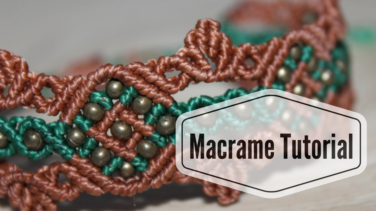 Diamond Square Bracelet with small beads and leaves - Macrame Tutorial