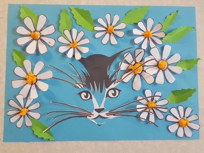 Die Kätzchen in Blumen Basteln mit Papier mit Schablone zum Download