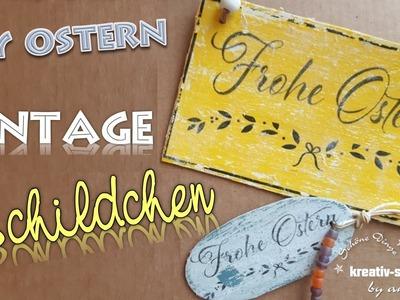 DIY Deko Basteln für Ostern - Vintage Schildchen, Etikett, Label aus Holz [How To]