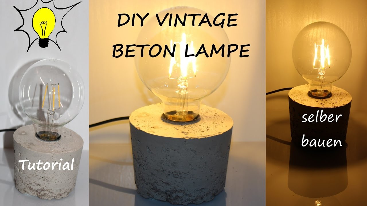 diy designer vintage beton lampe selber bauen tutorial. Black Bedroom Furniture Sets. Home Design Ideas