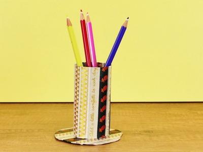 Basteln mit Klopapierrollen | Aufbewahrung für den Schreibtisch für Stifte | Einfaches DIY Deutsch
