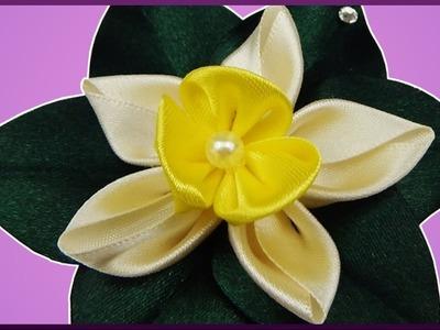 DIY Kanzashi | Haarblume aus Stoffband basteln | Ribbon flower | hair barrette accessory