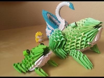 3D Origami Tropenfrosch (Schwierigkeit = leicht) [Deutsch]