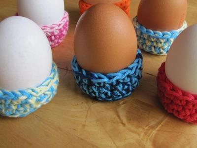 Bunte Nestchen als Eierbecher häkeln DIY
