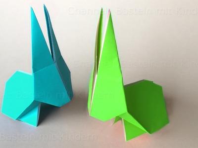 Origami Hase falten. Osterhasen basteln mit Kindern. Osterdeko selber machen. Ostern basteln