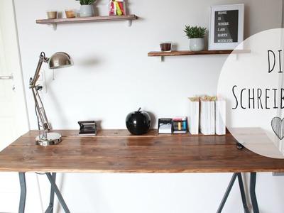 DIY Schreibtisch rustikal | Schreibtisch günstig selber bauen