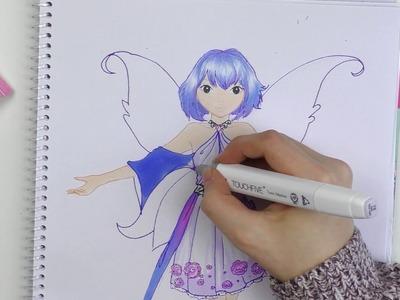 Fee malen | Wunderschöne blaue Fee im TOPMODEL MALBUCH | How to draw a cute fairy