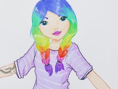 RAINBOW Hair Girl malen | TOPMODEL MALBUCH | ein süßes Mädchen zeichnen | How to draw a cute girl