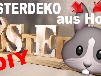 DIY Osterdeko aus Palettenholz. Osterhase Schriftzug. Easter Bunny Decoration