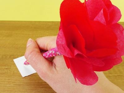 DIY ROSEN STIFT | Toller Bleistift mit Papierblume | Einfaches DIY für den Frühling