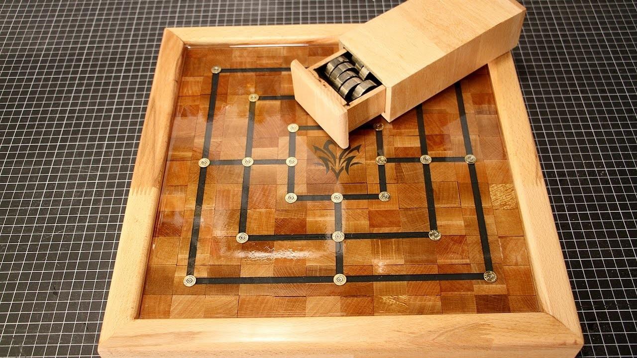 Brettspiel Mühle Fertigstellung. Board game Nine Man Morris finishing – diy