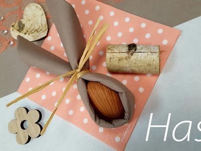 Servietten falten Anleitung - Osterhase DIY einfach selbst basteln - Osterdeko - Tischdeko