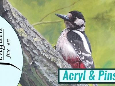Wie malt man einen realistischen Buntspecht in Acryl? Tutorial