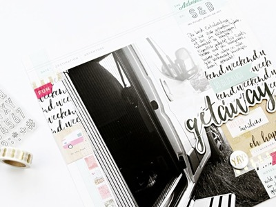 "April Materialpaket + Scrapbooking Layout ""weekend getaway"""