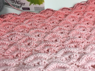 Tuch Reliefmuscheln Häkeln aus 1 Woolly Hugs BOBBEL - Veronika Hug